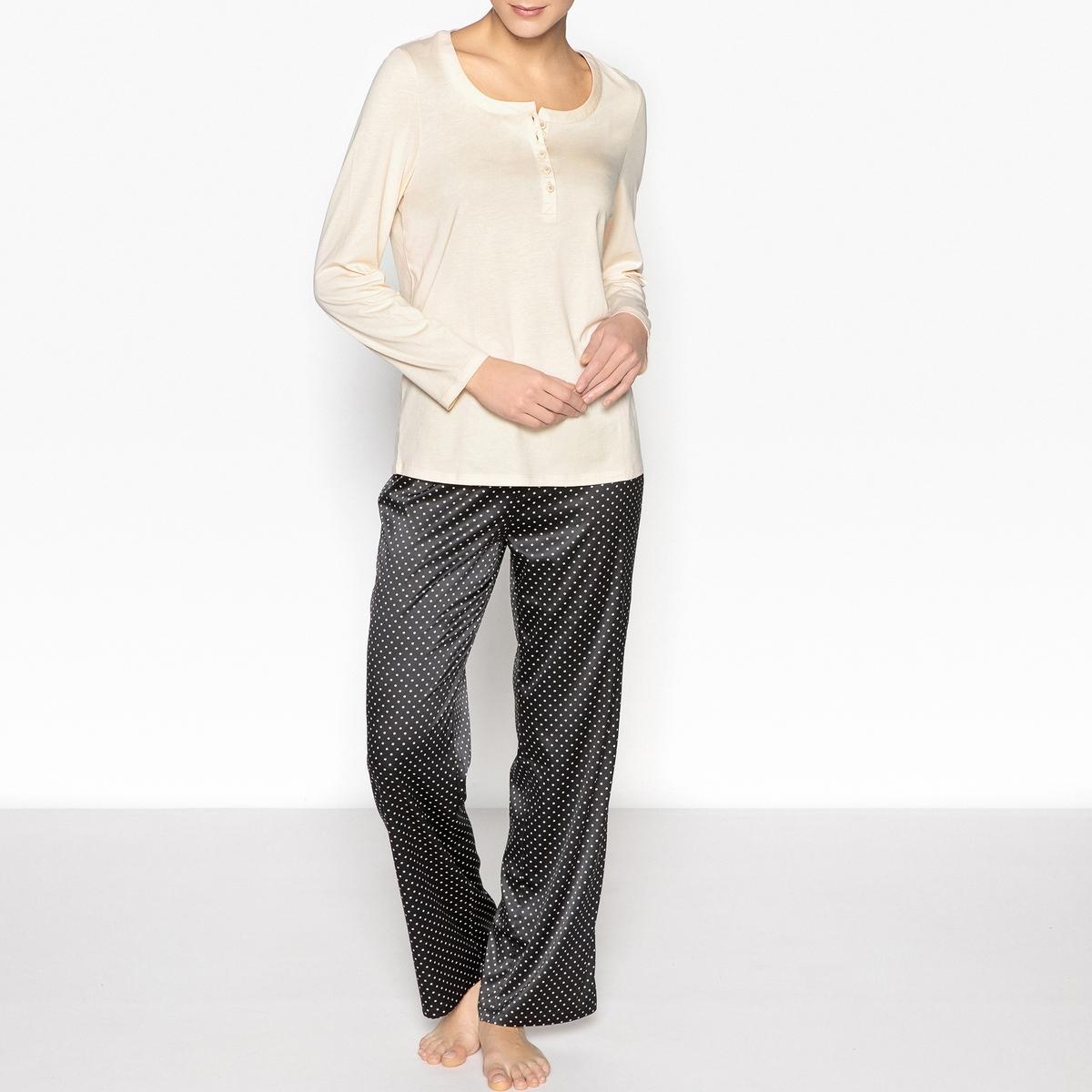 Пижама атласнаяОписание:Ультра мягкая пижама, которую можно носить вечером для отдыха или надеть для сна . Очень женственная модель с круглым вырезом с разрезом спереди.Детали •  Верх прямого покроя. •  Круглый вырез с разрезом . •  Длинные рукава. •  Брюки с эластичным поясом и затягиваемым шнурком •  Длина : верх 67 см, длина по внутр.шву 76 см .Состав и уход •  Материал : низа 96% полиэстера и 4% эластана, верха 50% хлопка и 50% модала •  Стирать при температуре 30° на деликатном режиме с вещами схожих цветов. •  Стирать и гладить с изнанки при низкой температуре. •  Машинная сушка запрещена.<br><br>Цвет: черный/ бежевый<br>Размер: 50 (FR) - 56 (RUS).48 (FR) - 54 (RUS).46 (FR) - 52 (RUS).42 (FR) - 48 (RUS).38 (FR) - 44 (RUS)
