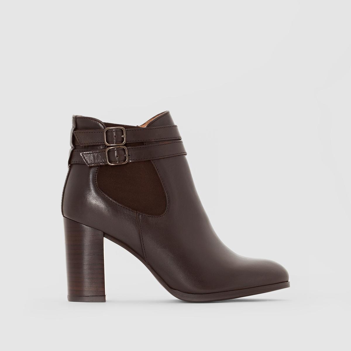 Ботильоны кожаные на каблуке AbriaПодкладка : Кожа   Стелька: Кожа   Подошва: эластомер    Высота каблука: 15 смВысота каблука: 8 смФорма каблука : Широкий.   Носок : Закругленный.   Застежка   : Застежка на молнию<br><br>Цвет: каштановый<br>Размер: 40.39