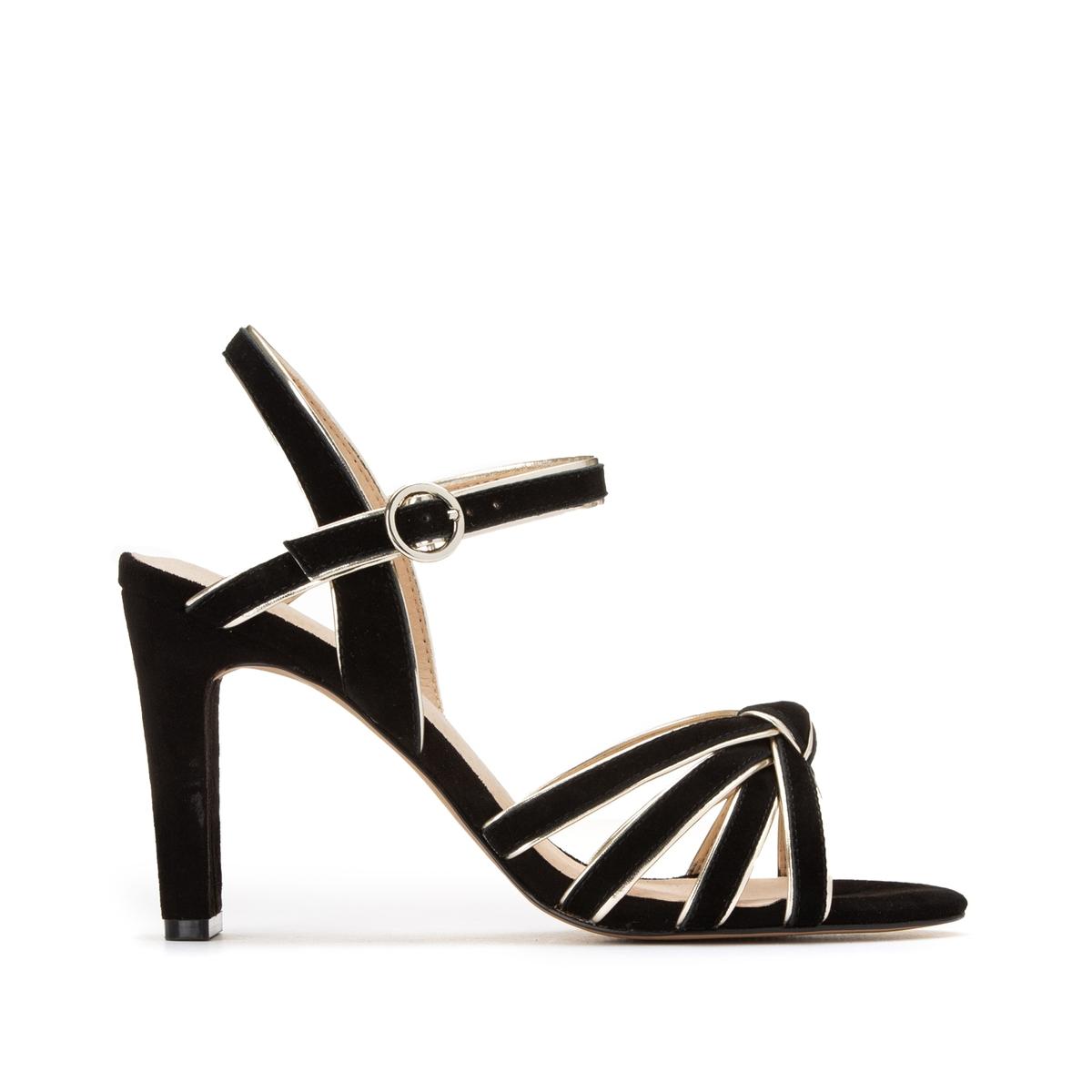 цена Босоножки La Redoute Кожаные на высоком каблуке с блестящим кантом 40 черный онлайн в 2017 году