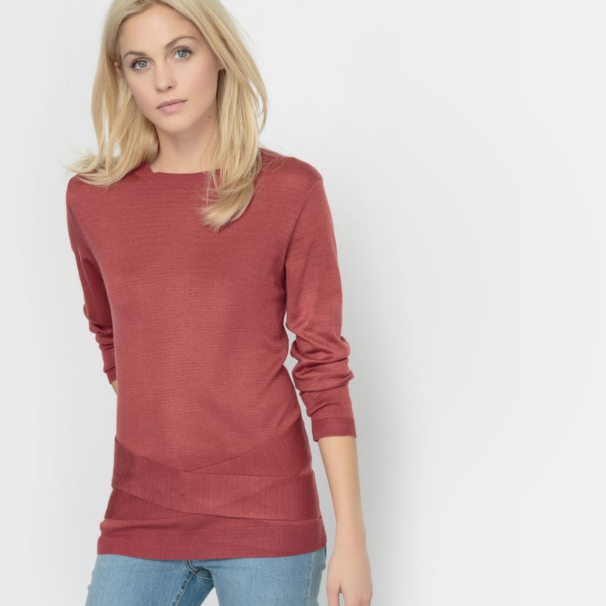 Пуловер на завязкахПуловер с длинным рукавом R ?dition. Пуловер прямого покроя с завязками. Круглый вырез. Состав и описание :Длина : 63 смМатериал : 80% акрила, 20% полиамидаМарка :      R ?ditionУходСтирка при 30° с одеждой подобного цвета Не гладить<br><br>Цвет: синий морской,темно-розовый