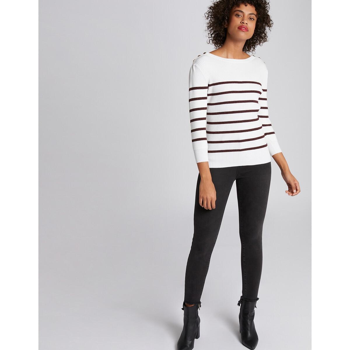 Пуловер La Redoute В рубчик в полоску с отделкой пуговицами на плечах L белый