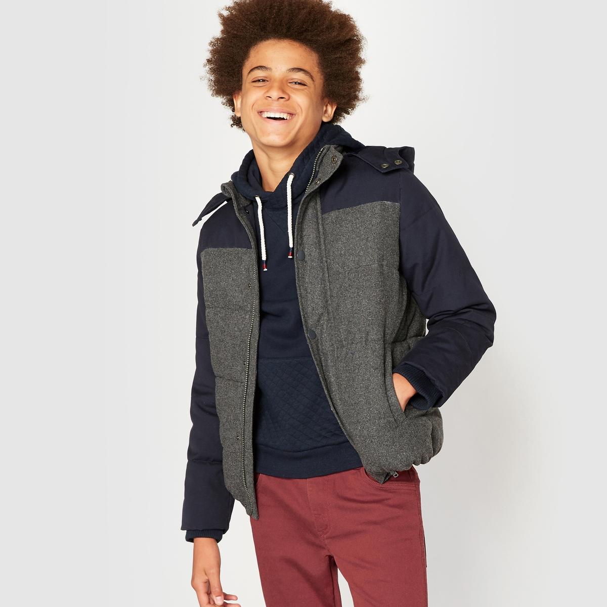 Куртка стеганая с капюшоном из двух материалов, 10-16 лет