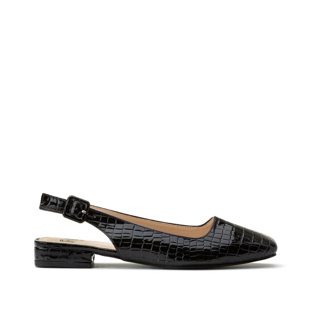 цена Балетки La Redoute На плоском каблуке с эффектом крокодиловой кожи 41 черный онлайн в 2017 году