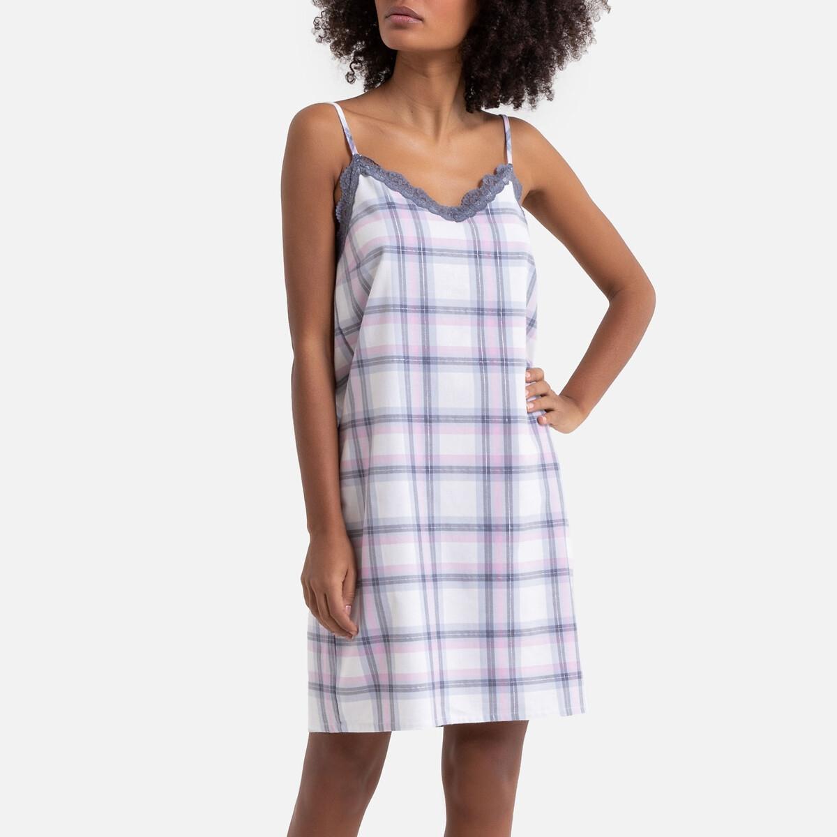 Camisa de dormir aos quadrados em puro algodão, detalhes em renda