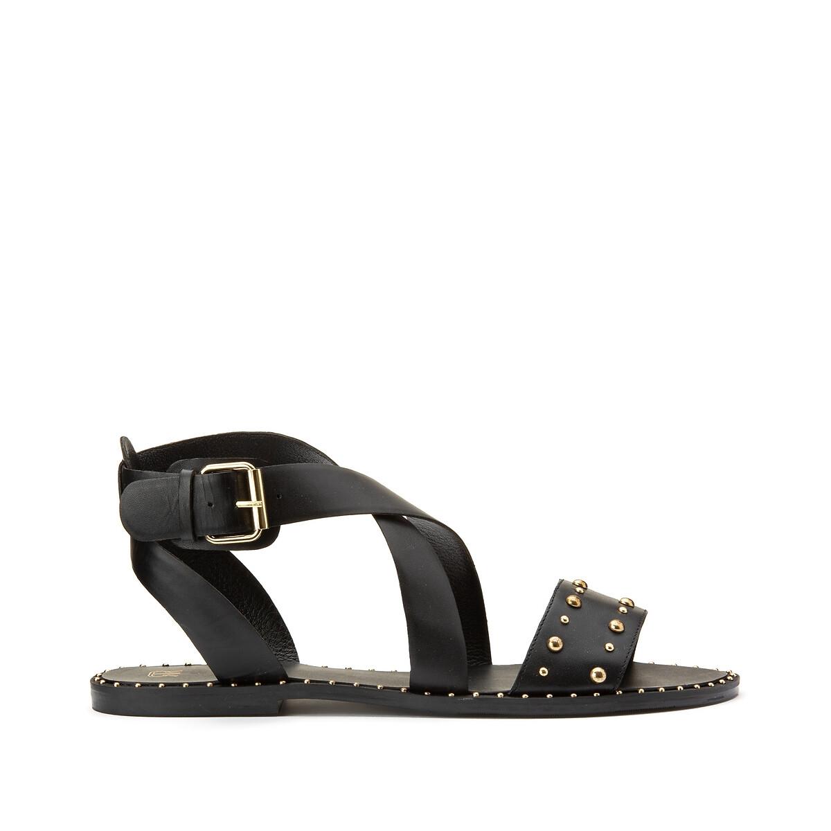 Sandales en cuir talon plat, pied large 38-45