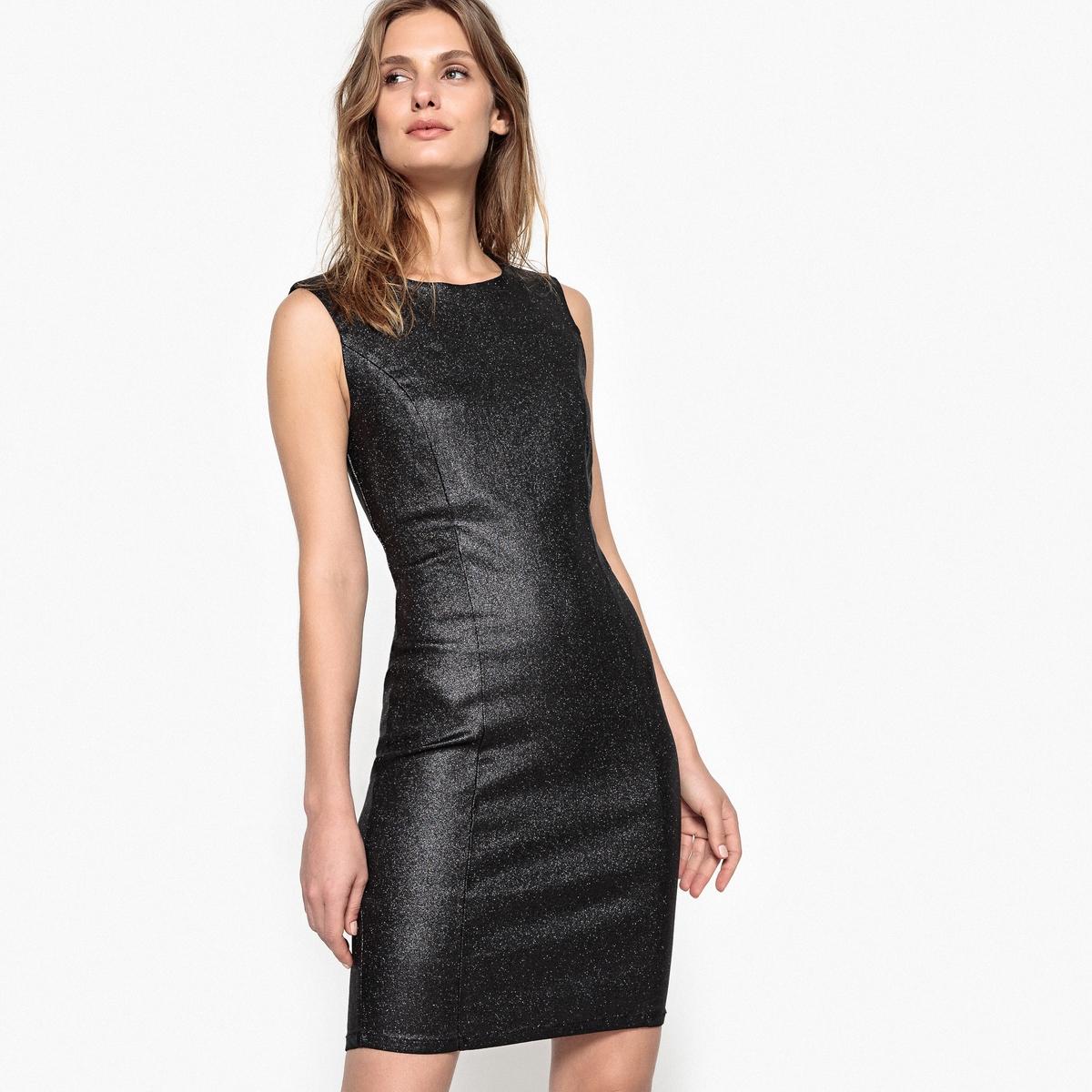 Платье однотонное прямого покроя без рукавов, длина миди, 3/4Детали •  Форма : прямая •  Длина миди, 3/4 •  Без рукавов     •   V-образный вырезСостав и уход •  76% вискозы, 3% эластана, 21% полиамида •  Следуйте советам по уходу, указанным на этикетке<br><br>Цвет: черный<br>Размер: S.L.XL