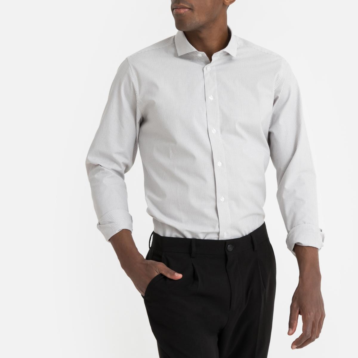 Camisa recta con rayas finas, manga larga