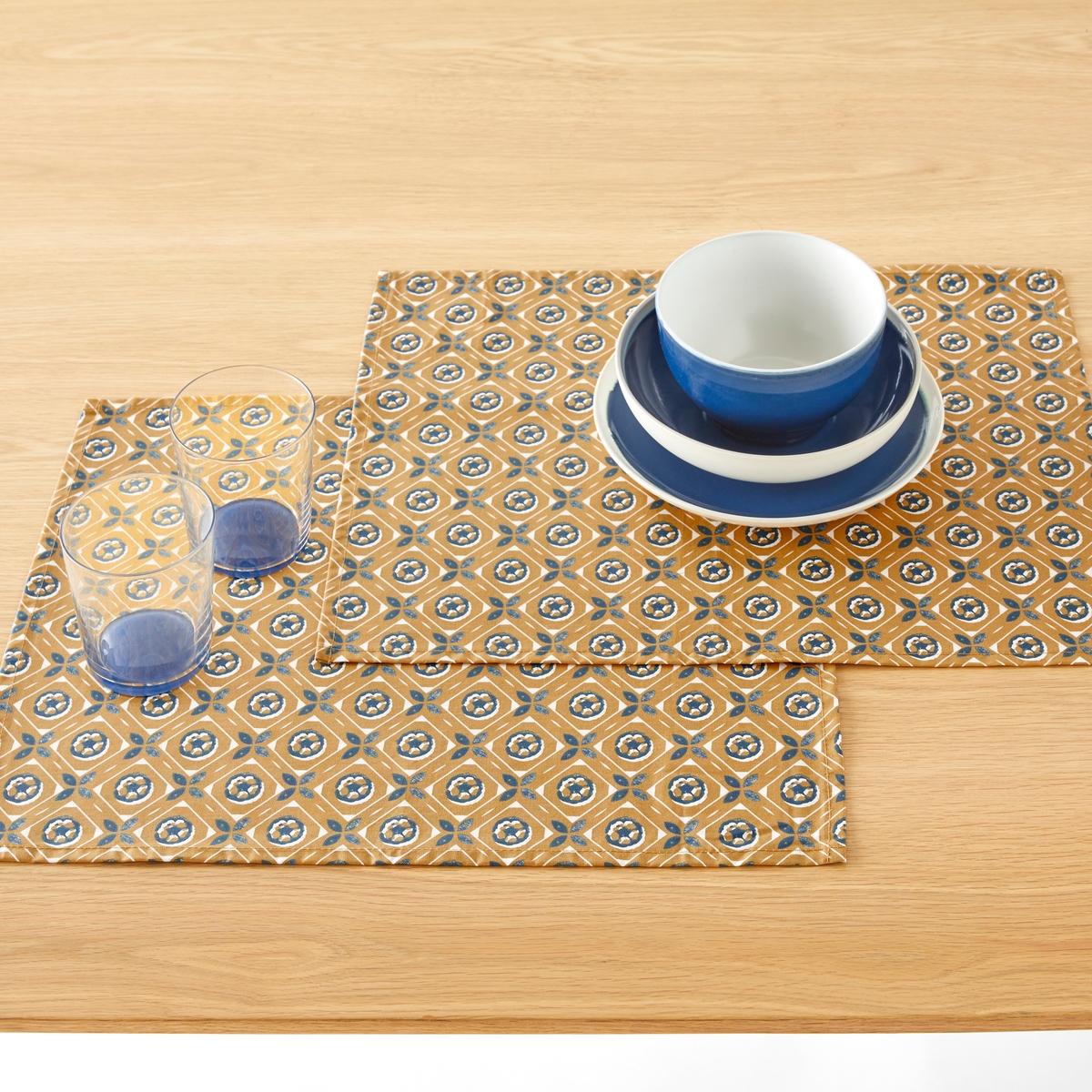 Подложки под столовые приборы из хлопка с пропиткой ORIANE (2 шт) набор подложек под столовые приборы феникс презент чашка чая 45 см х 30 см 4 шт 37380