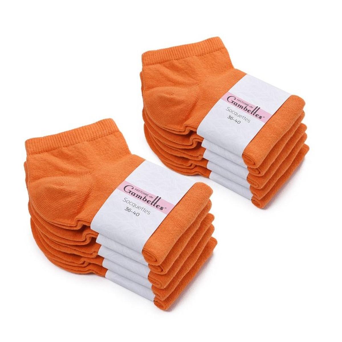 Socquettes Femme coton Mandarine (Lot de 10) - Fabriqué en europe