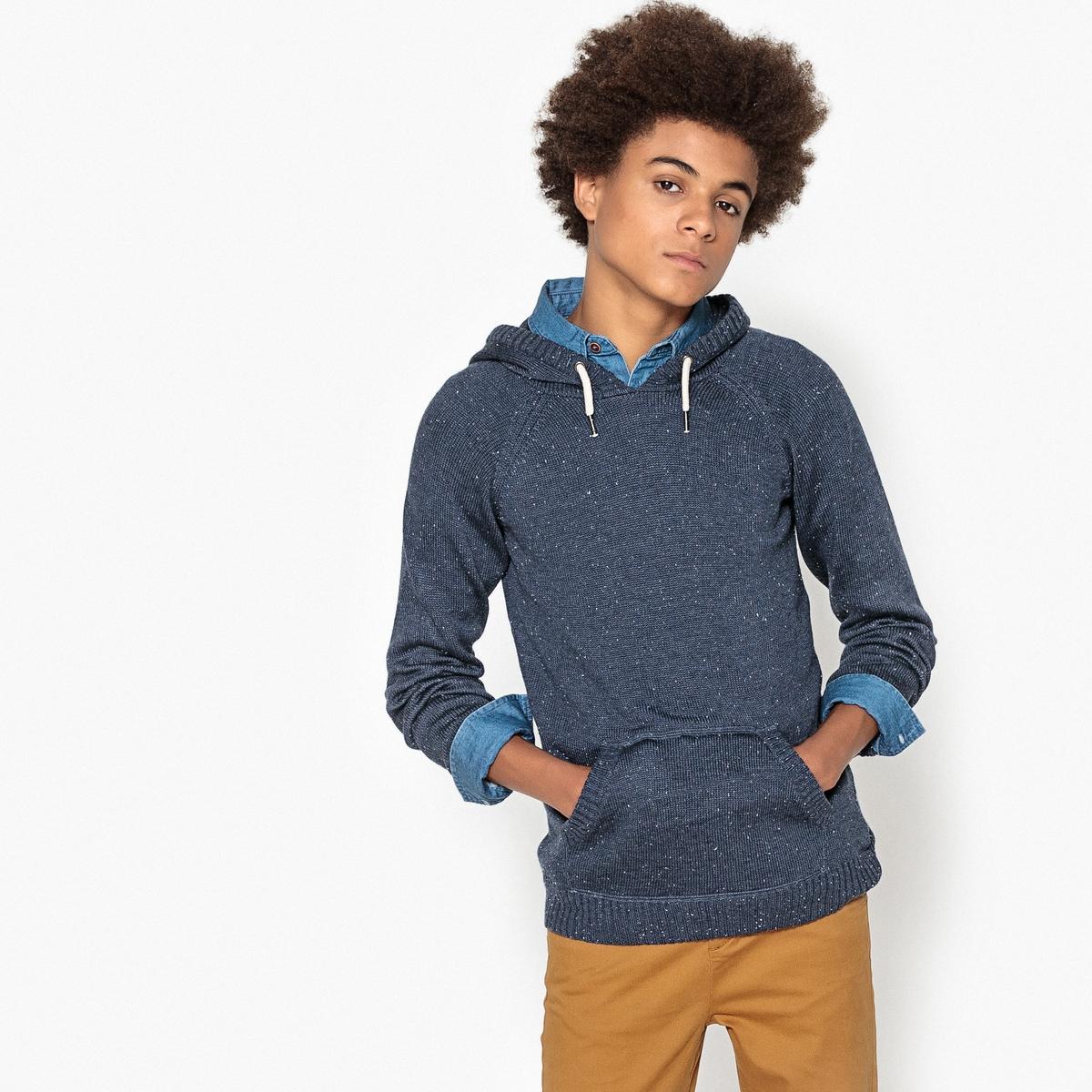 Пуловер из тонкого трикотажа с капюшоном