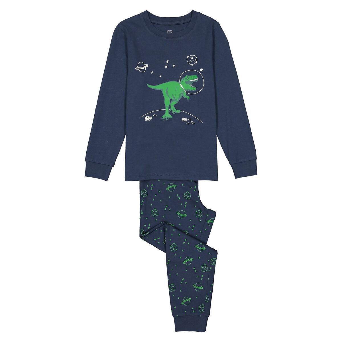 Фото - Пижама LaRedoute С фосфоресцирующим рисунком из джерси 3-12 лет 8 лет - 126 см синий рубашка laredoute джинсовая 3 12 лет 8 лет 126 см синий