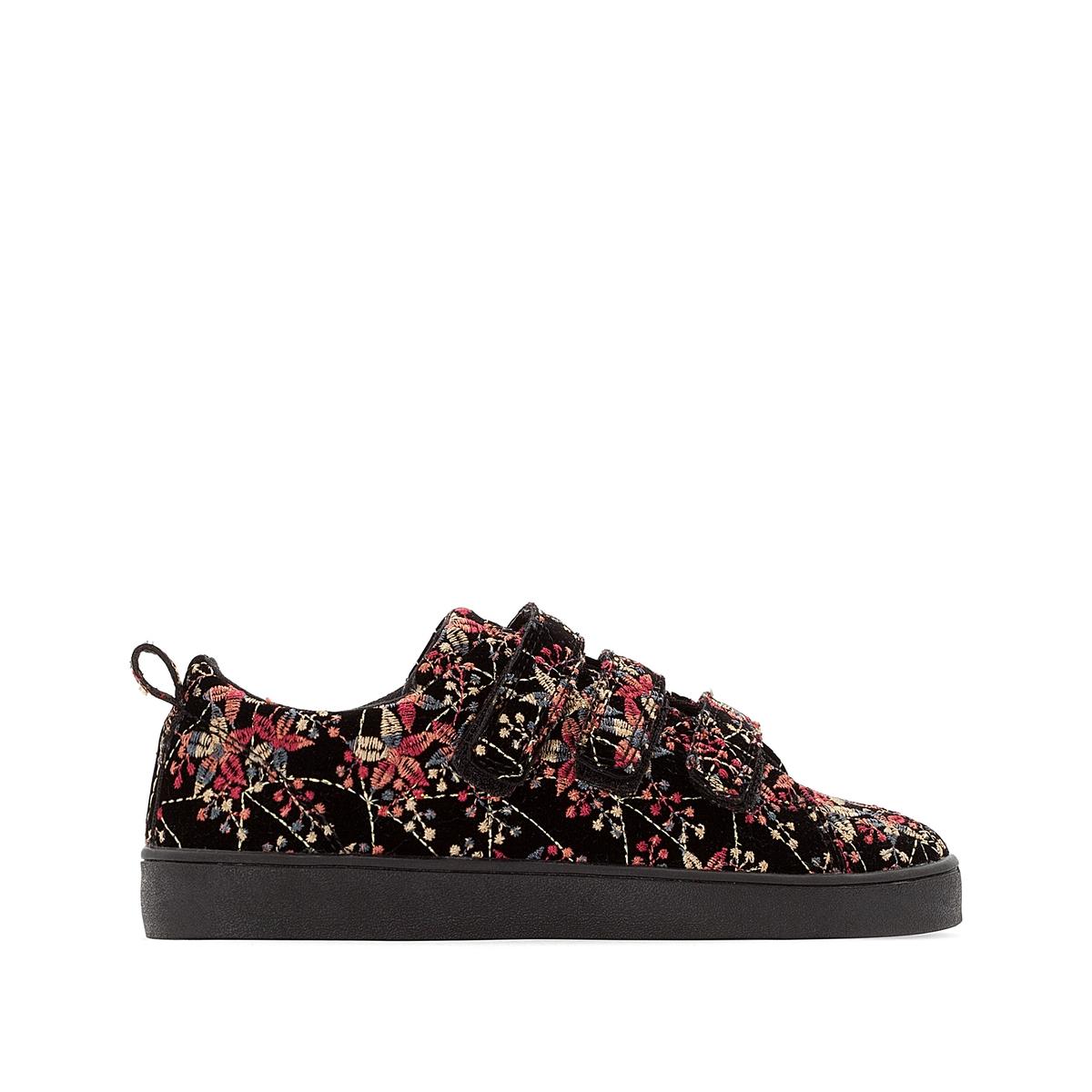 Zapatillas con estampado de flores y cierre autoadherente