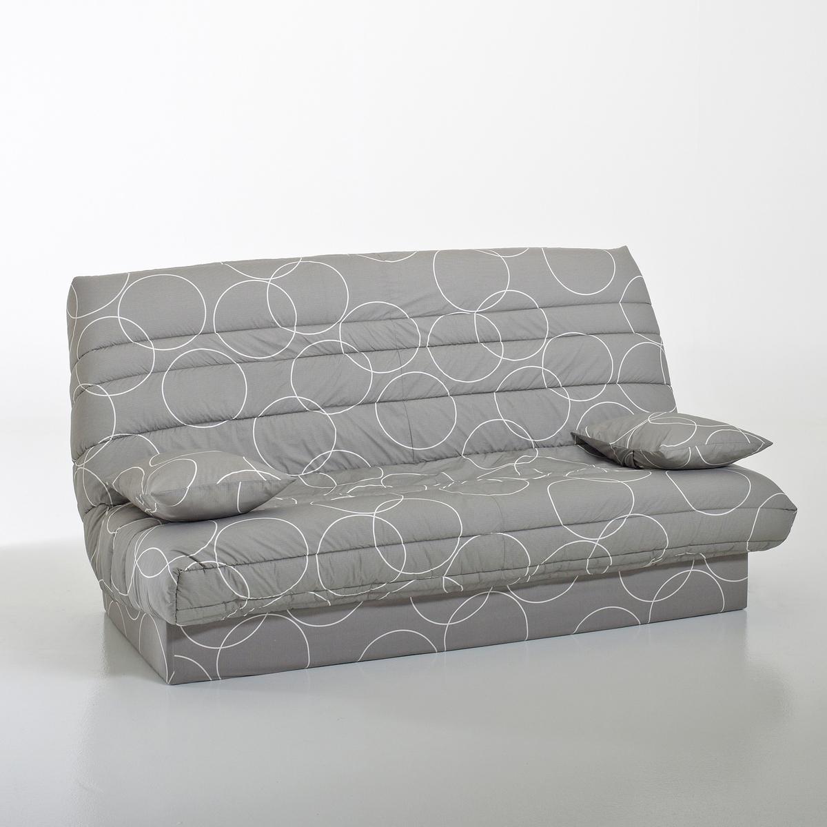 Чехол стеганый для дивана-книжки и складной тумбы, 250 г/м?Чехол для дивана-книжки, усовершенствованная модель : Для дивана-книжки и складной тумбы, позволит продлить срок службы вашей мебели  !Сделано в Европе.Описание :- Стеганый чехол с наполнителем из полиэстера (250 г/м?)- На резинке.- Поставляется в комплекте с 2 чехлами на подушку-валик и лентой для складной тумбыОбивка :- Однотонная расцветка : 100% хлопок, пропитка от пятен (250 г/м?)- Расцветка с рисунком : 50% хлопка, 50% полиэстера- Меланжевая расцветка : 100% полиэстер- Предоставляем бесплатные образцы материала : Введите примеры дивана-книжки в поисковой системе на сайте laredoute.ruОткройте для себя другие модели чехлов на сайте laredoute.ruРазмеры чехла :3 варианта ширины :Ширина : 120 смШирина : 130 см.Ширина : 140 см.Размер подушки : Ш.50 x В.40 x Г.12 см<br><br>Цвет: рисунок круги