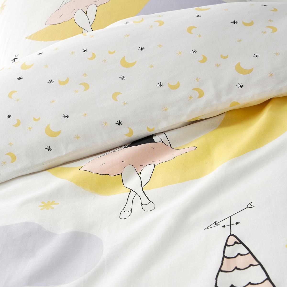 Пододеяльник с рисунком, детский, MoongirlДетский пододеяльник Moongirl. Маленькая девочка, сидящая на лунном месяце, наблюдает за городом. Красивая иллюстрация способствует каждому ребенку увидеть сладкие сны. Характеристики пододеяльника Moongirl :- Лицевая сторона с рисунком, оборотная - со сплошным мелким рисунком- 100% хлопок (57 нитей/см?). Чем плотнее переплетение нитей/см?, тем выше качество материала.- Клапан для заправки под матрас- Стирка при 60°.Знак Oeko-Tex® гарантирует, что товары протестированы, сертифицированы и не содержат вредных для здоровья веществ. Весь комплект детского постельного белья Charivari вы найдете на сайте la redoute.ru.Размеры :140 x 200 см : 1-сп.200 х 200 см : 1-2-сп.<br><br>Цвет: белый наб.рисунок