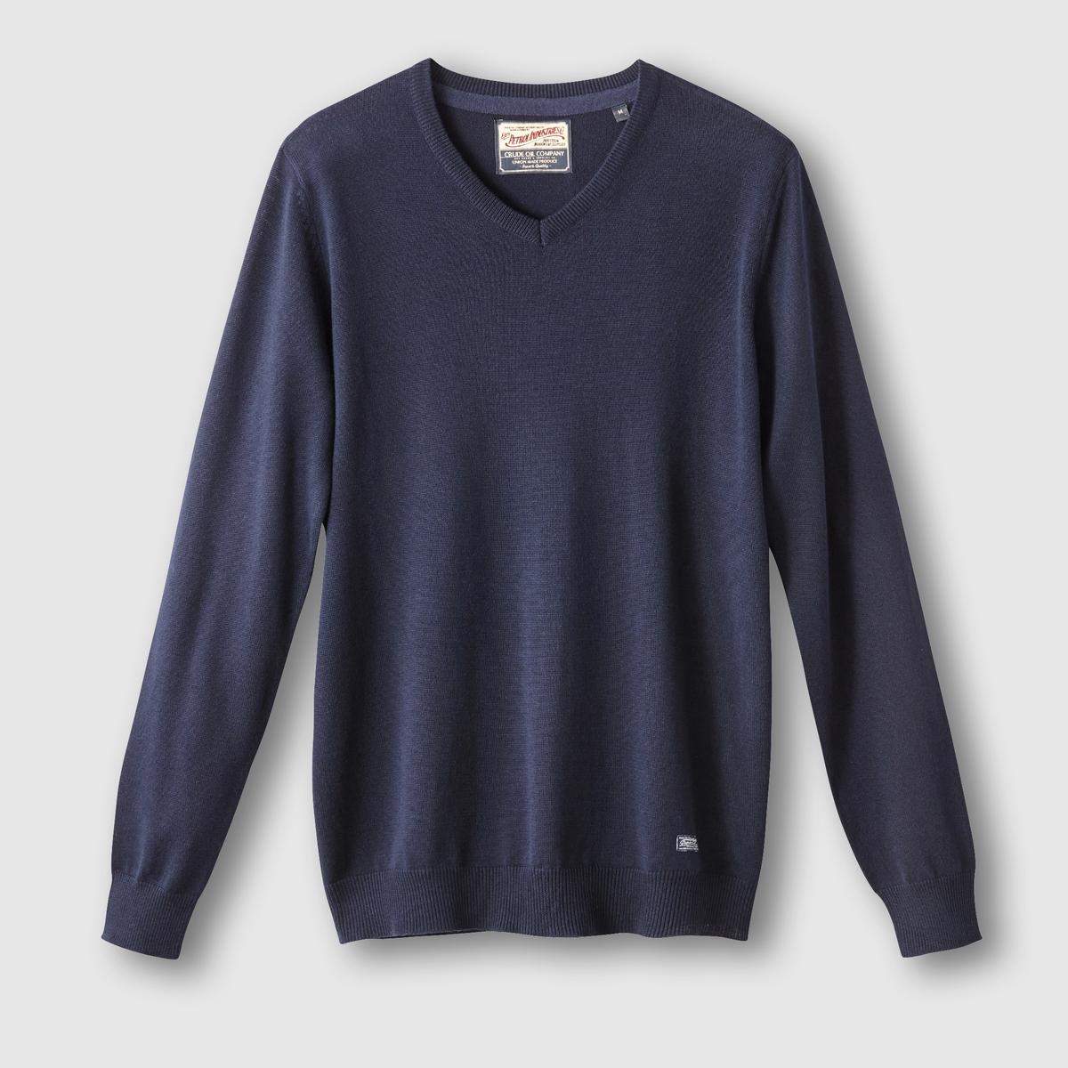 Пуловер с V-образным вырезомСостав и описание:Материал: 50% акрила, 50% хлопка.Марка: PETROL INDUSTRIES.<br><br>Цвет: каштановый меланж,черный