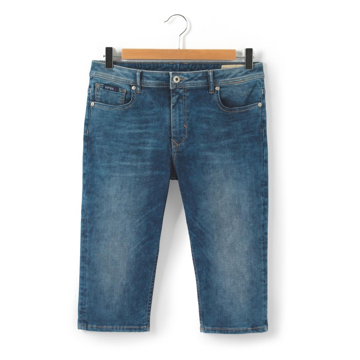 Бермуды из денима, 10-16 летБермуды джинсовые . 5 карманов. Застежка на молнию и пуговицу.Состав и описаниеМатериал: Деним,  91,5% хлопка, 6% полиэстера, 2,5% эластанаМарка      KAPORALУходМашинная стирка при 40 °С с вещами схожих цветовСтирать и гладить с изнаночной стороныМашинная сушка при умеренной температуреГладить на средней температуре<br><br>Цвет: синий<br>Размер: 10 лет - 138 см.14 лет - 162 см