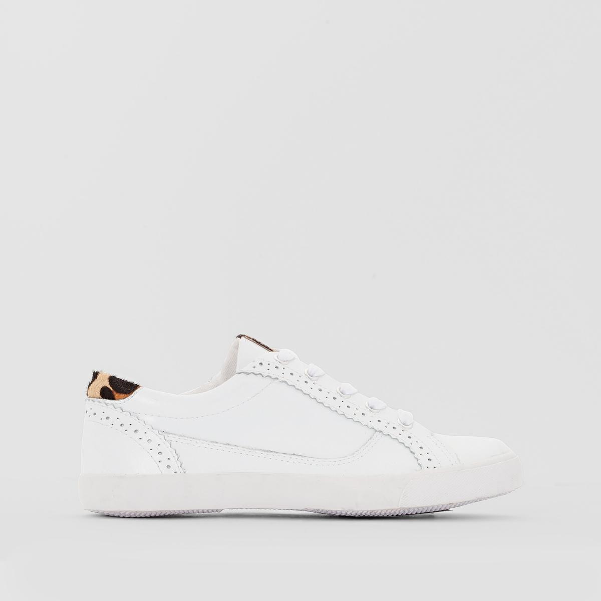 Zapatillas de piel con efecto leopardo detrás