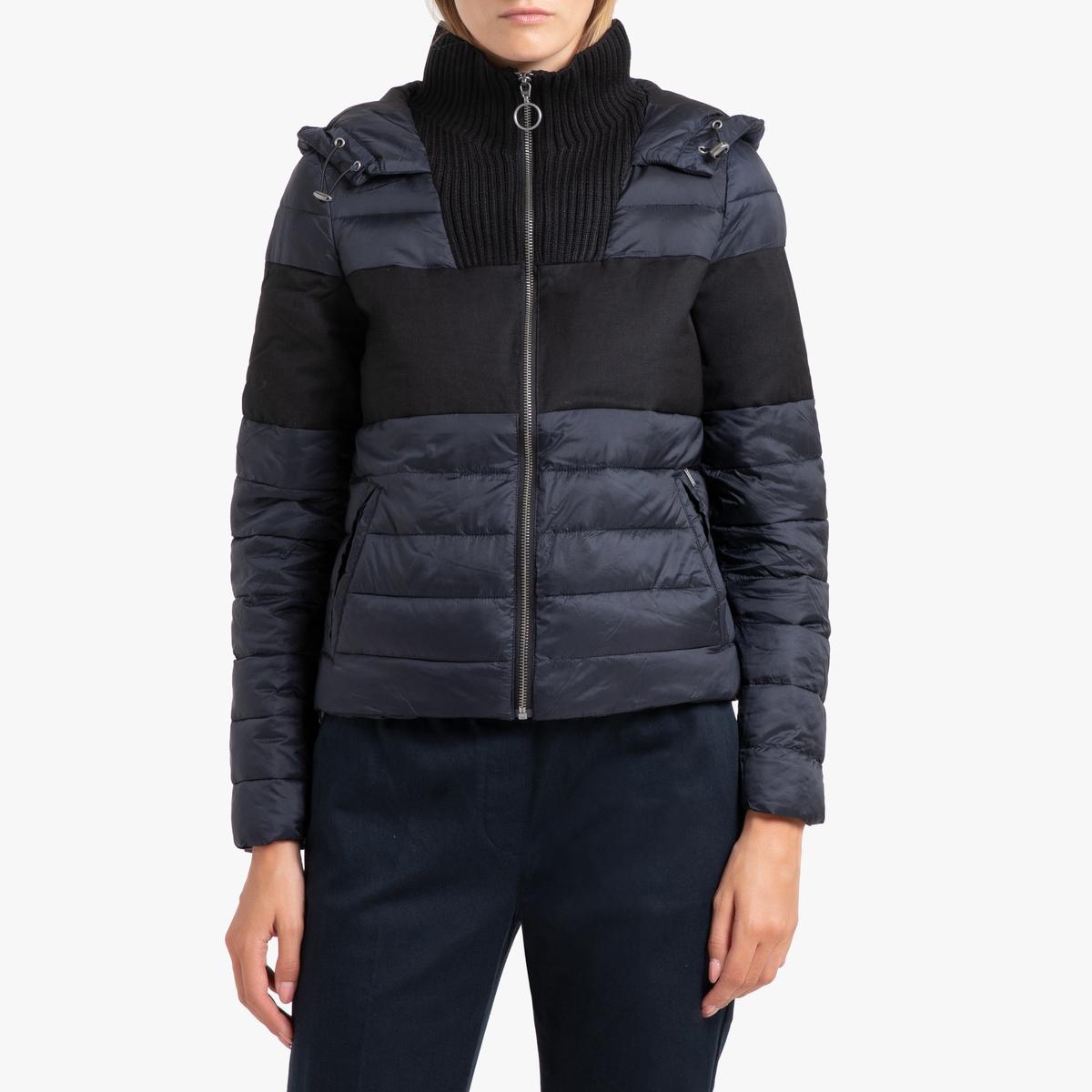 цена Куртка La Redoute Стеганая короткая с застежкой на молнию и капюшоном XS синий в интернет-магазинах
