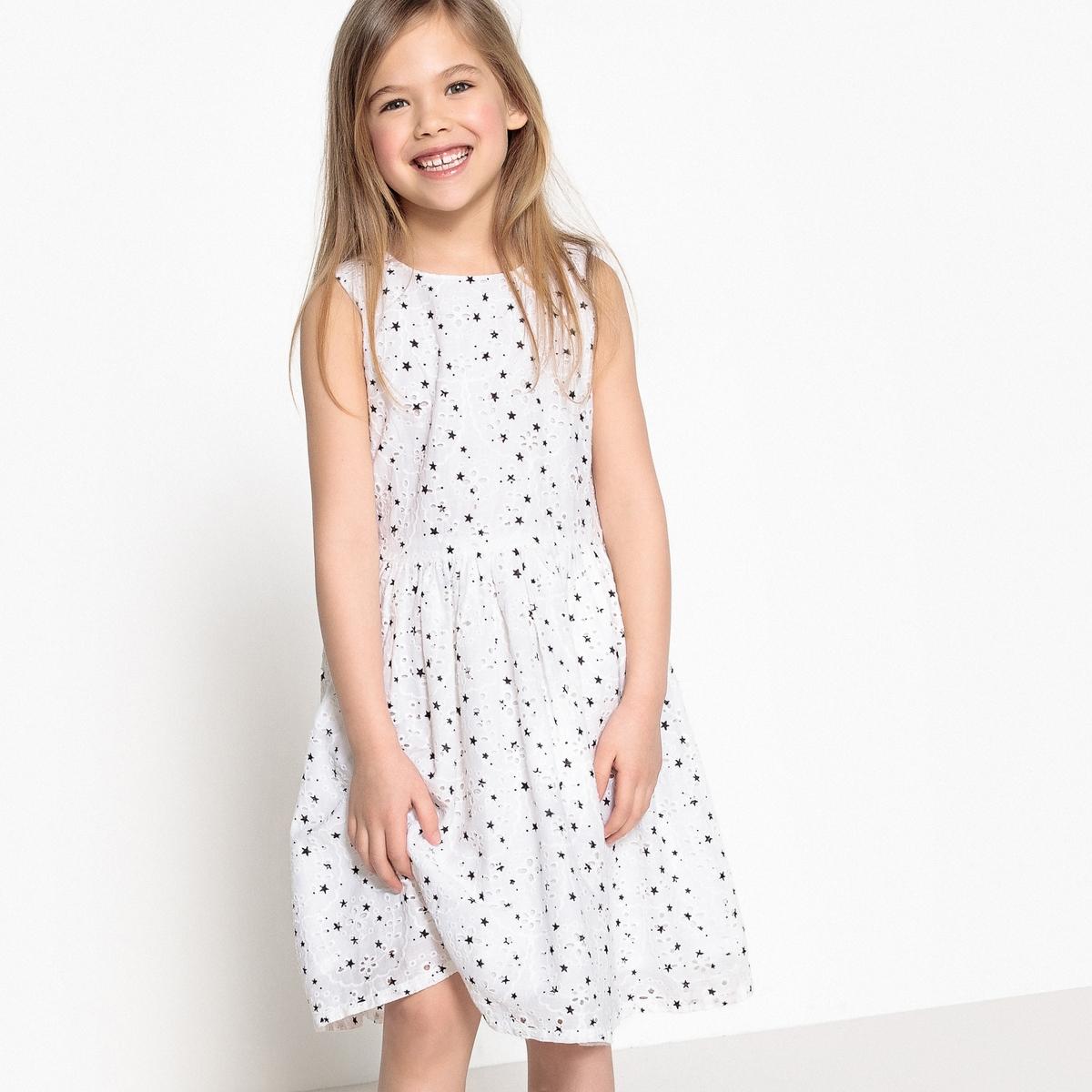 Платье с вышивкой и рисунком 3-12 лет