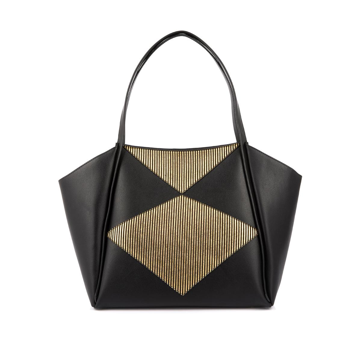 Сумка-шоппер CralineОписание:Красивая сумка-шоппер современной формы в графичном и изящном стиле от Mellow Yellow. Практичная, с 2 внутренними карманами : идеальна для шоппинга !Состав и описание : Материал : верх из синтетики              хлопковая подкладка Марка : Mellow YellowМодель : Craline Размеры  :  Длина по низу : 29 см -  Общая длина : 46 см - Высота : 27,5 см - Глубина : 14 смЗастежка : на молниюВнутренний карман на молнии 18 x 10,5 см  Внутренний накладной карман 17 x 9,5 смРучка 46,5 см<br><br>Цвет: черный + золотистый