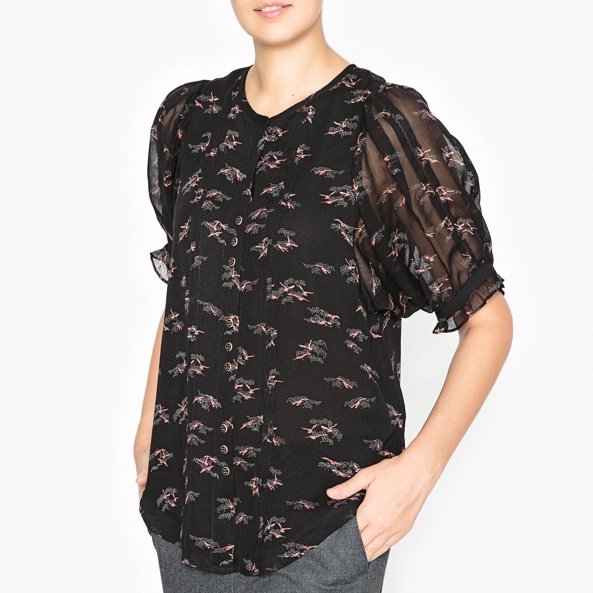 Рубашка с рисунком NINJIОписание:Рубашка SESSUN - модель NINJI из вискозы с рисунком.Детали   •  Рукава 3/4 •  Прямой покрой •   V-образный вырез   •  Рисунок-принтСостав и уход  •  100% вискоза •  Следуйте советам по уходу, указанным на этикетке   • Широкие проймы и воланы на рукавах •  Пуговица с золотистыми деталями  •  Низ слегка закругленный<br><br>Цвет: черный