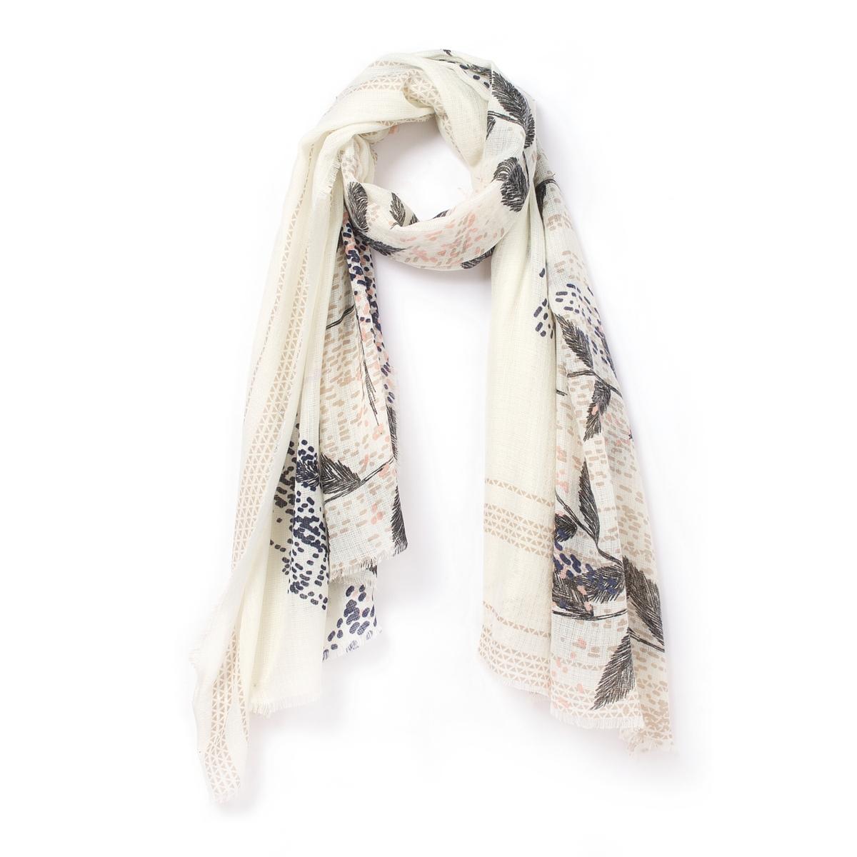 Шарф с рисункомОписание:Утонченный и женственный шарф Esprit с великолепным рисунком листья. Состав и описание :  •  Материал : 100% полиэстер •  Марка : Esprit •  Модель : Col Leaf Print •  Размер : 95 x 190 смУход: :Машинная стирка при 30° (или при 30° на деликатном режиме, в зависимости от пиктограммы).С вещами схожих цветов..<br><br>Цвет: белый<br>Размер: единый размер