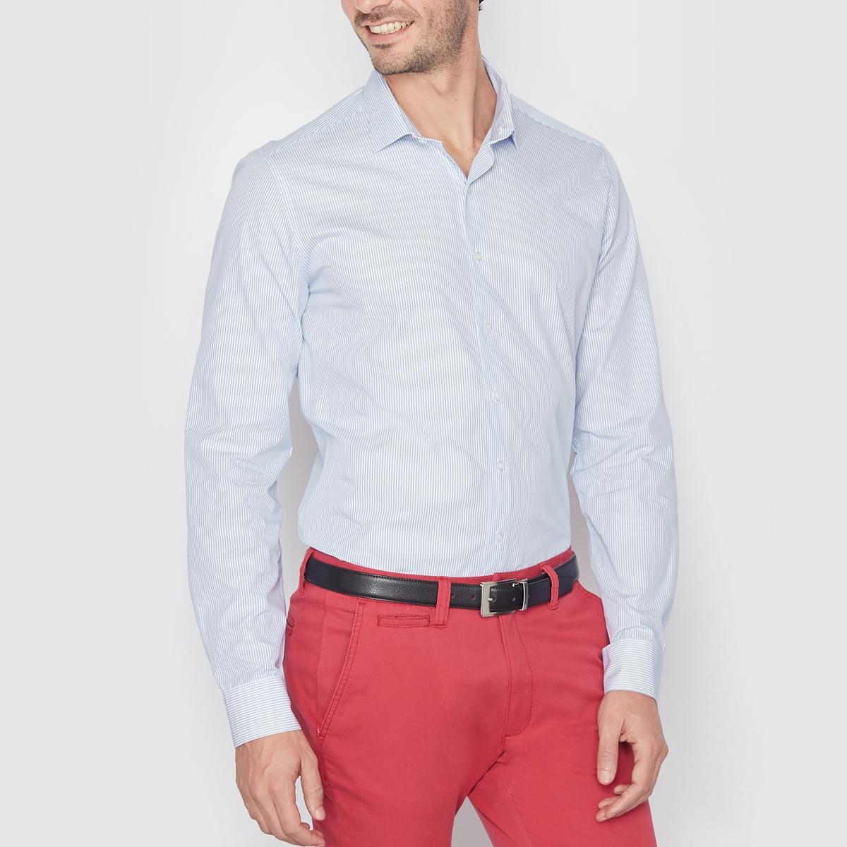 Рубашка в полоску из поплина, узкого покроя. Длинные рукаваРубашка из поплина, 100% хлопка . Узкий покрой (облегающий) . Длинные рукава . Свободные уголки воротника  . Длина 77 см .<br><br>Цвет: в полоску/розовый,синяя полоска<br>Размер: 47/48.47/48
