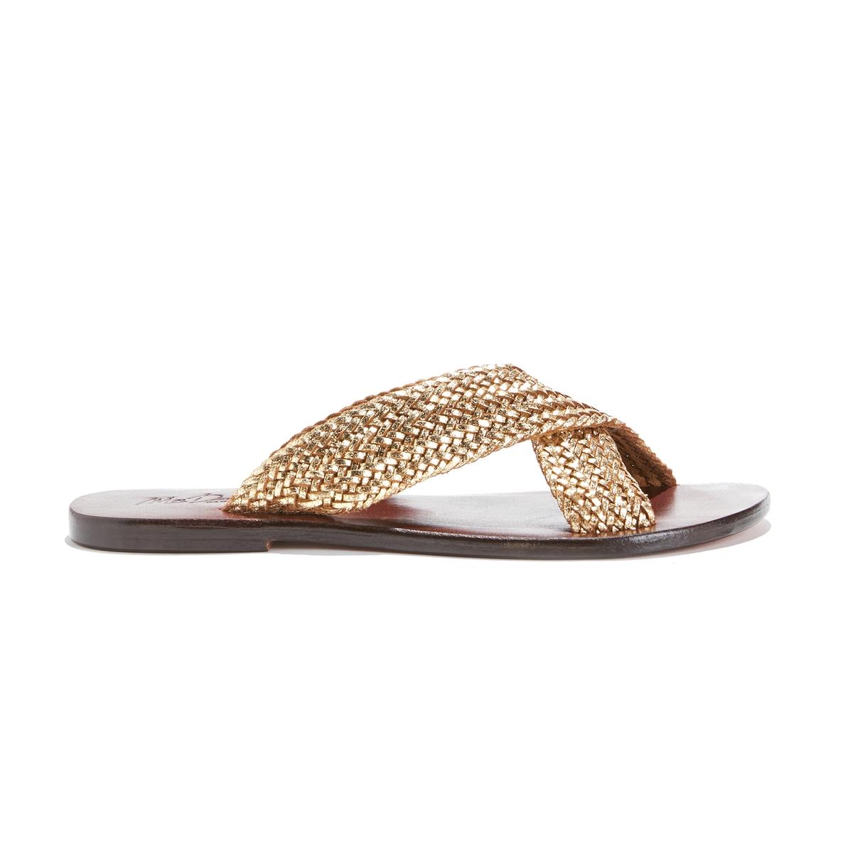 Туфли без задника плетеные золотистого цвета на плоском каблуке ANKH