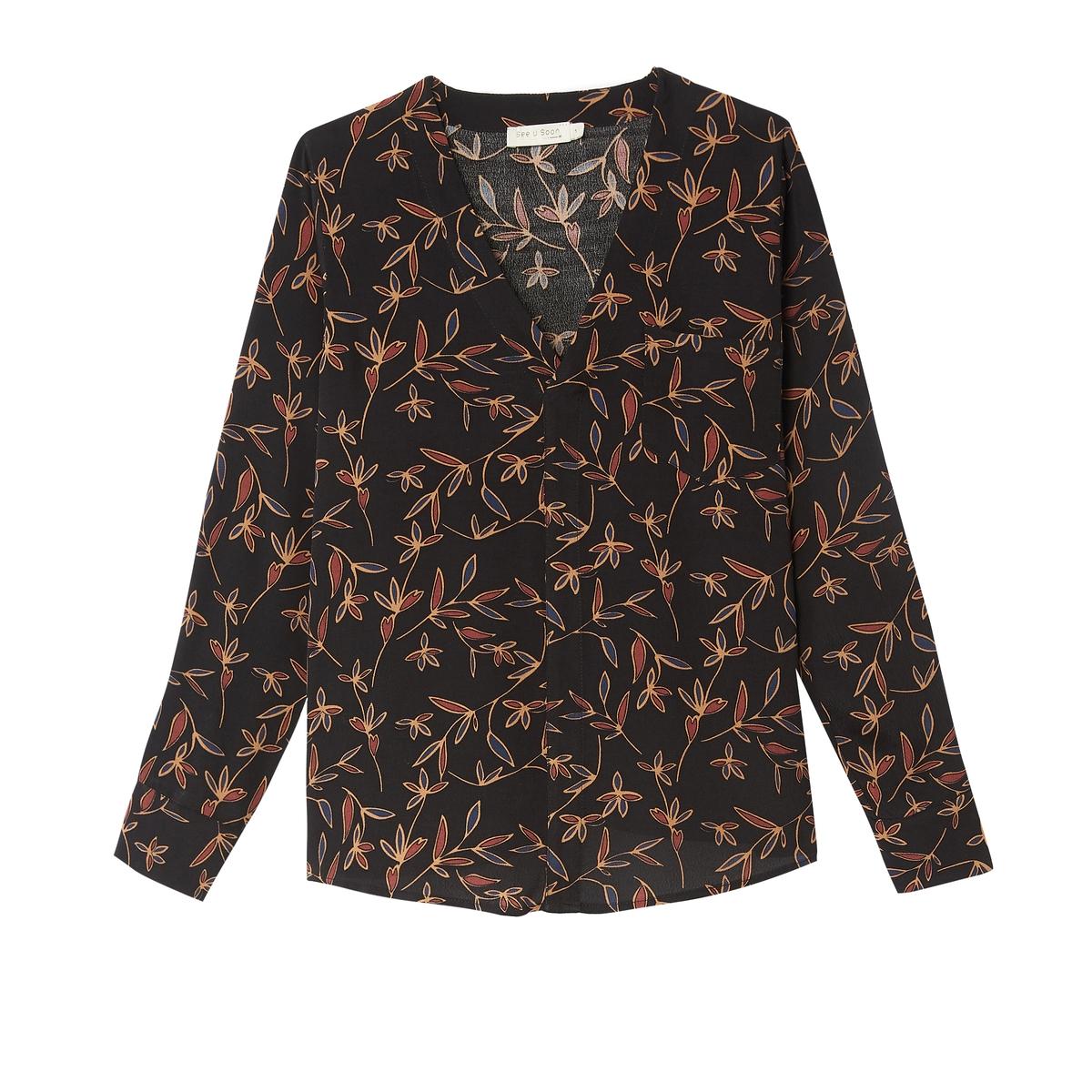 Блузка La Redoute С V-образным вырезом цветочным рисунком и длинными рукавами XS черный футболка la redoute с длинными рукавами и v образным вырезом из кружева s черный