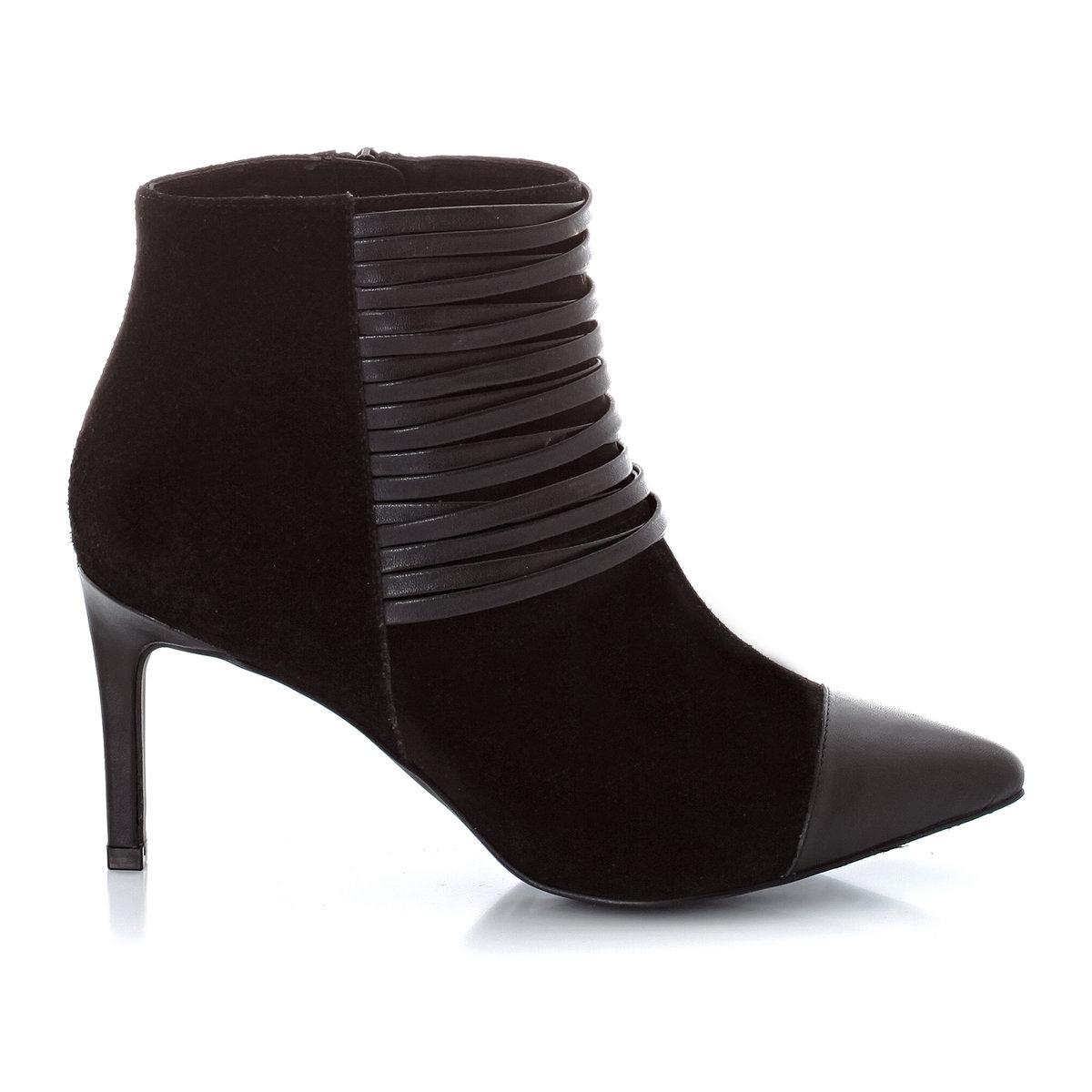 Ботильоны кожаные на каблуке<br><br>Цвет: черный<br>Размер: 41