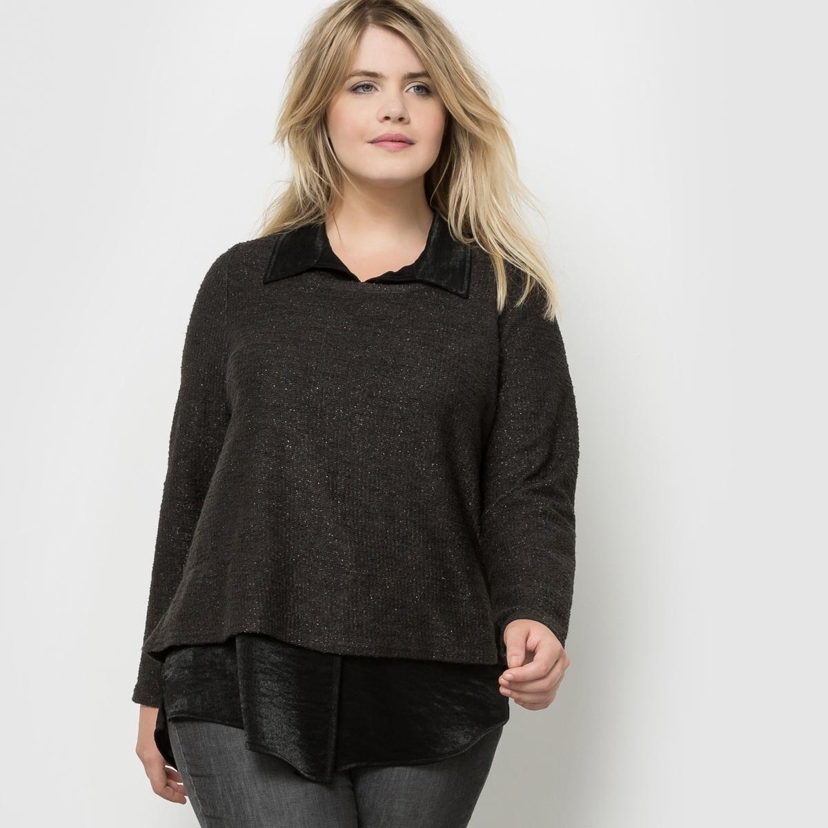 ТуникаТуника с длинными рукавами с ложным эффектом 2 в 1: пуловер/рубашка. Длинный пуловер из разноцветного трикотажа и имитация рубашки из разноцветного крепа с ложной планкой застежки на пуговицы.<br><br>Цвет: хаки<br>Размер: 44 (FR) - 50 (RUS)