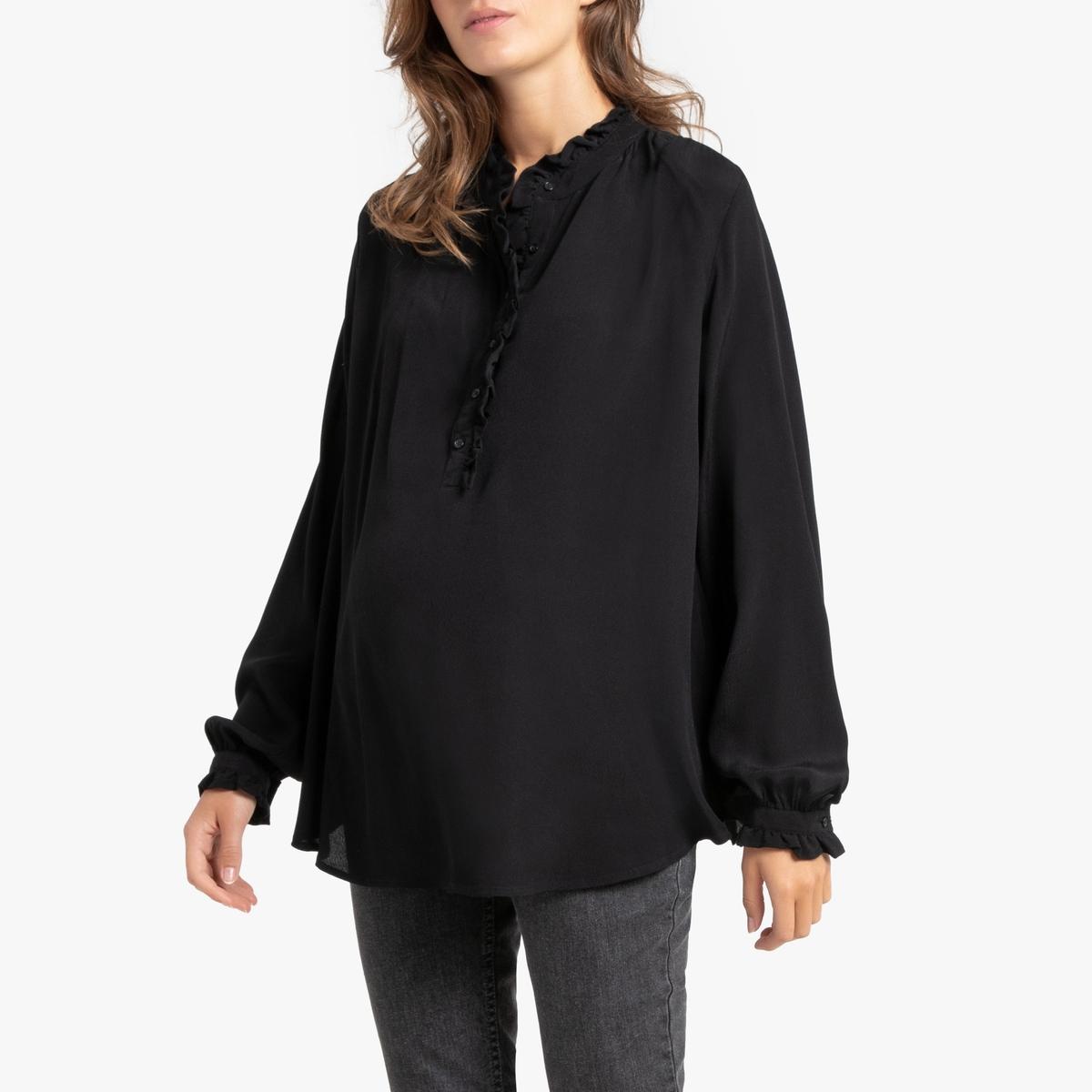 Блузка La Redoute Для периода беременности струящаяся с воротником-стойкой 36 (FR) - 42 (RUS) черный