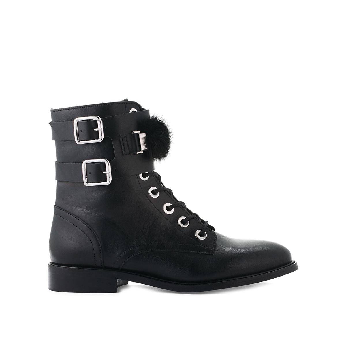 Ботинки La Redoute Из кожи с ремешками VifeurFur 40 черный застежка молния трактор arta f разъемная 2 замка т6 цвет черный 077 100 см