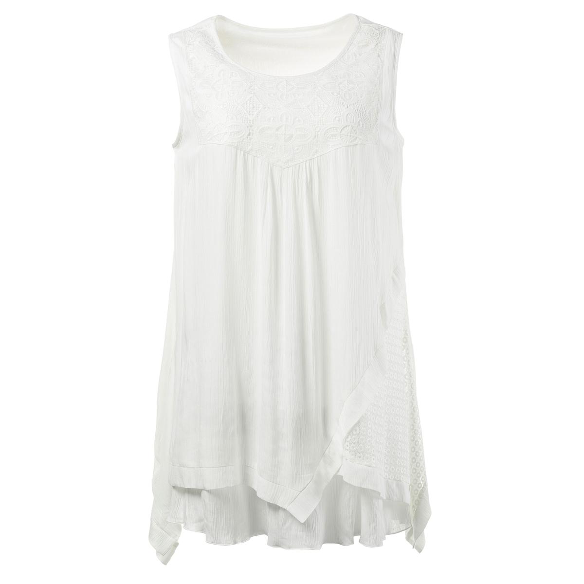 БлузкаТоп в форме блузки ULLA POPKEN из ткани под креп. Круглый вырез, вставки из непрозрачного кружева, низ с острыми концами и прозрачной вставкой. 100% вискоза. Длина в зависимости от размера. 76-81 см<br><br>Цвет: экрю