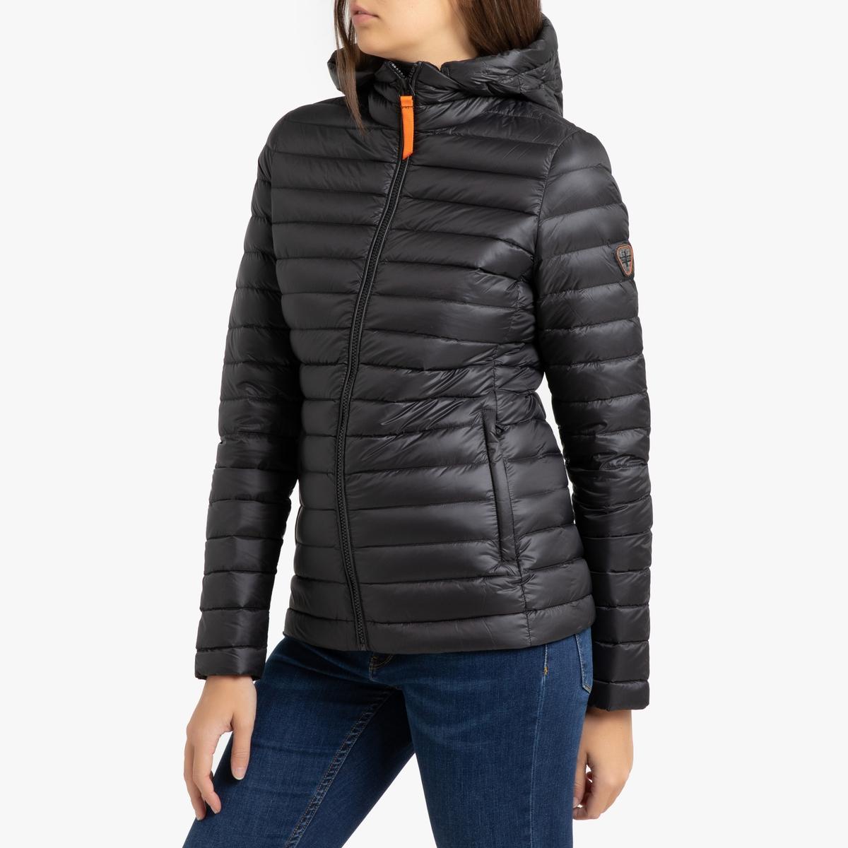 цена Куртка La Redoute Стеганая короткая с капюшоном FRANCINE MAT 3(L) черный в интернет-магазинах