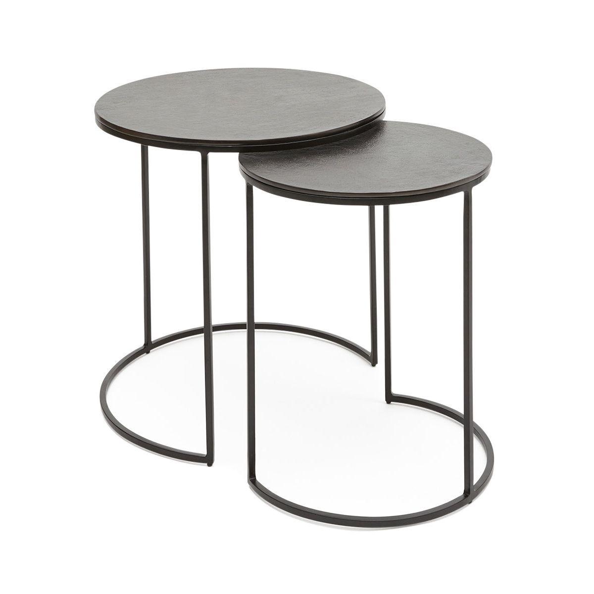 Lot De 2 Tables Basses Gigogne Riviera Demi-lune Métal H46 X Ø46 Cm Et H36 X Ø43 Cm
