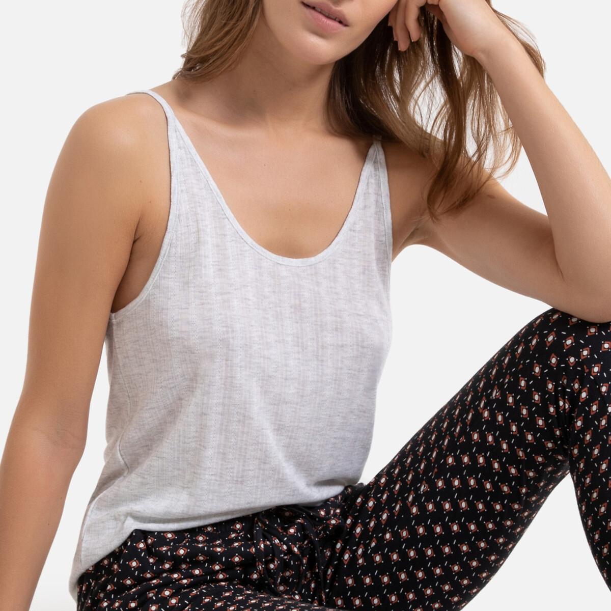 Pijama liso sin mangas, con pantalón estampado