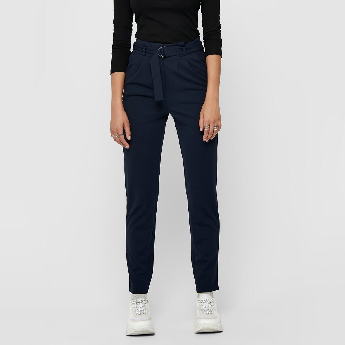 Брюки La Redoute Прямые с завышенной талией XS синий брюки la redoute широкие с завышенной талией и стилизованным рисунком m красный