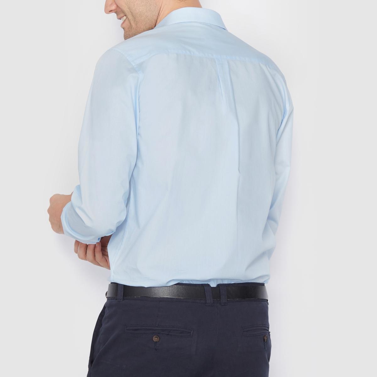 Рубашка прямого покроя с длинными рукавами, 100% хлопокРубашка из поплина, 100% хлопок. Прямой покрой. Длинные рукава. Воротник со свободными уголками. Длина 77 см.<br><br>Цвет: небесно-голубой<br>Размер: 37/38