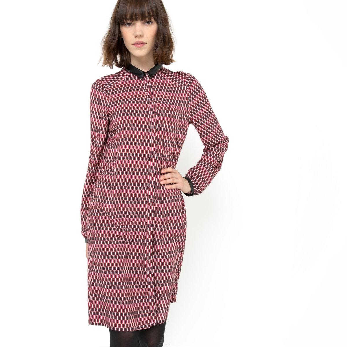 Платье из вискозыПлатье-рубашка MADEMOISELLE R. Графический принт на розовом фоне. Длинные рукава. Маленький воротник, манжеты из искусственной кожи с застежкой на пуговицы. Супатная застежка на пуговицы спереди по всей длине.Платье из 100% вискозы.<br><br>Цвет: набивной рисунок<br>Размер: 34 (FR) - 40 (RUS)