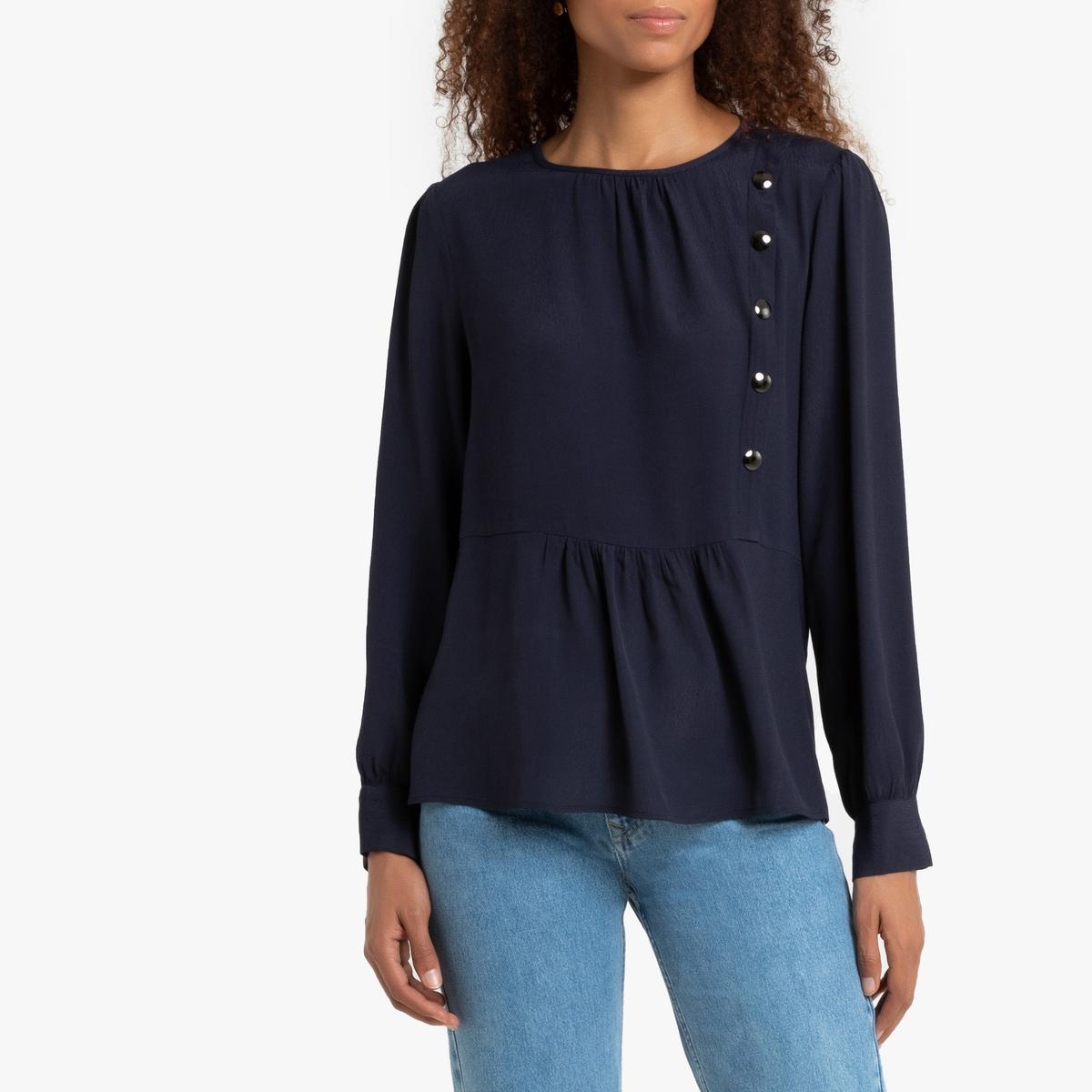 Блузка La Redoute С длинными рукавами круглым вырезом и баской 1(S) синий пуловер la redoute с круглым вырезом и длинными рукавами l красный