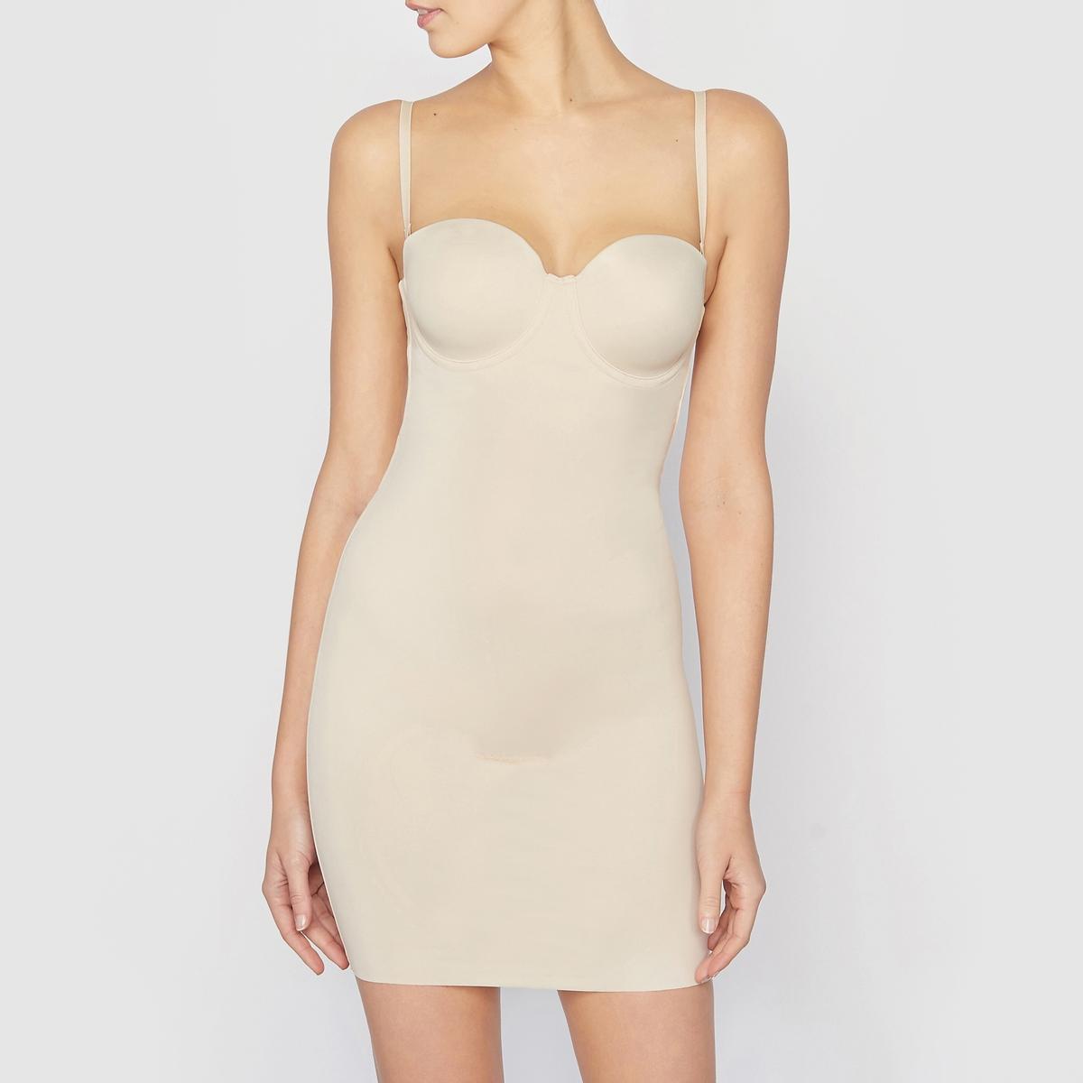 Платье утягивающее Endlessly SmoothУтягивающее платье на косточках Endlessly Smooth от MAINDERFORM. Усиленная поддержка. Утончённое и чувственное, с широким закруглённым декольте, чтобы подчеркнуть силуэт от бюста, это платье совершенно незаметно под одеждой. Состав и описание : Материал:  64% полиамида, 36% эластанаМарка: MAIDENFORM Уход :Ручная или машинная стирка при 30°C на умеренном режиме, предпочтительнее в мешке-сетке.Стирать, сушить и гладить с изнаночной стороны.Машинная сушка запрещена.Не гладить.<br><br>Цвет: бежевый,черный<br>Размер: 95 B (FR) - 80 B (RUS).100 D (FR) - 85 D (RUS)