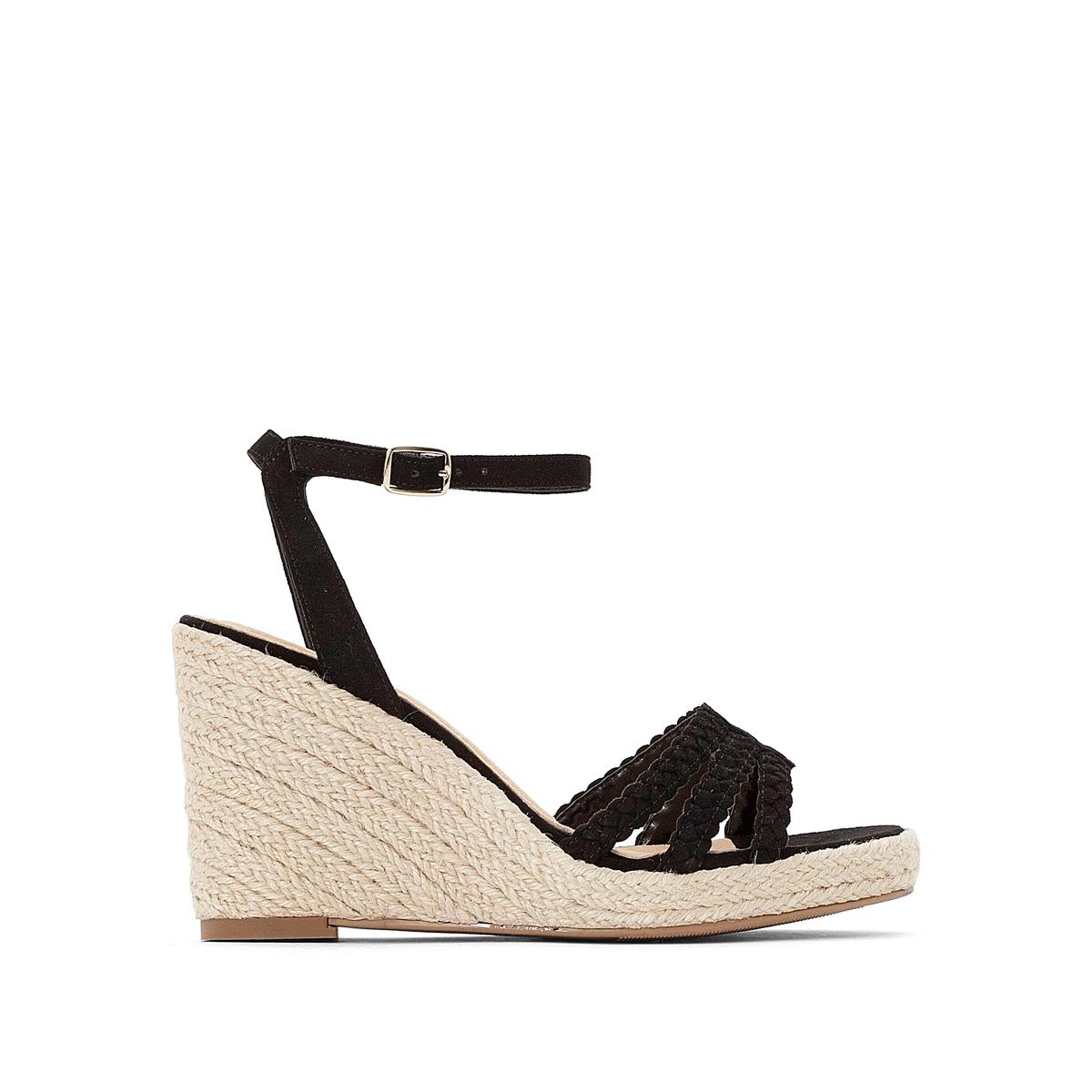 Sandálias com tacão de cunha, 9 cm
