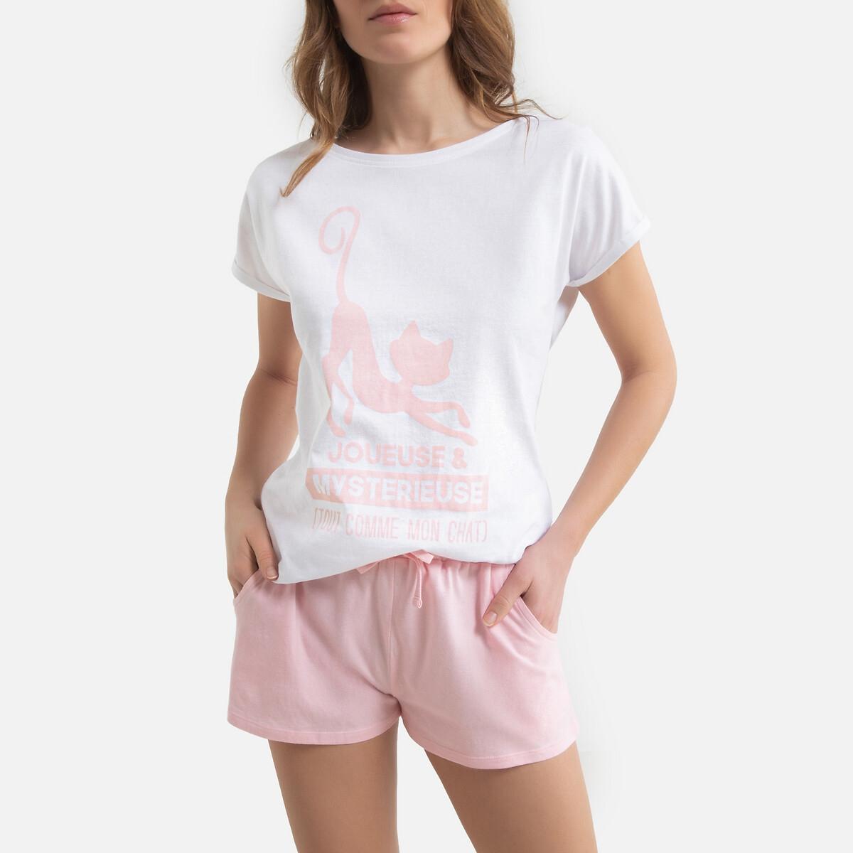 Фото - Пижама LaRedoute С шортами Catsline S белый пижама laredoute с шортами в полоску m синий