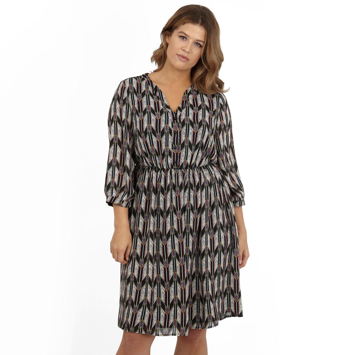 ПлатьеПлатье с длинными рукавами KOKO BY KOKO. Красивый глубокий V-образный вырез. 100% полиэстер.<br><br>Цвет: набивной рисунок<br>Размер: 54/56 (FR) - 60/62 (RUS)