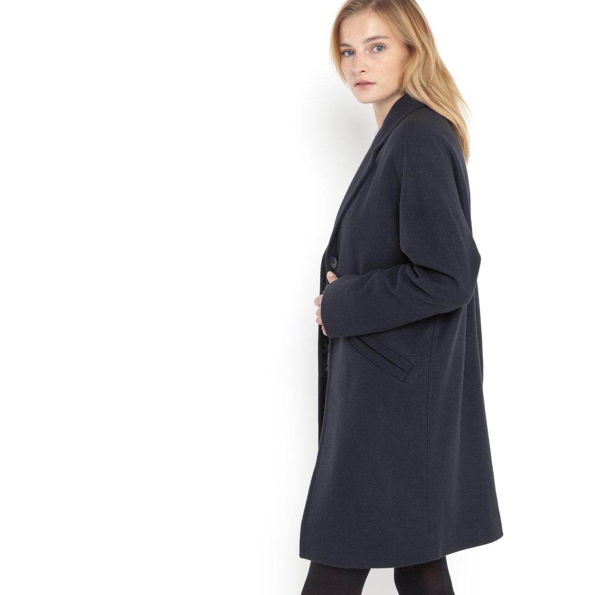 Пальто закругленной формыШирокое пальто закругленной формы. Застежка на 2 пуговицы. 2 кармана. 80% шерсти, 20% полиэстера, подкладка из 100% полиэстера. Длина 92 см.<br><br>Цвет: темно-синий<br>Размер: 44 (FR) - 50 (RUS)