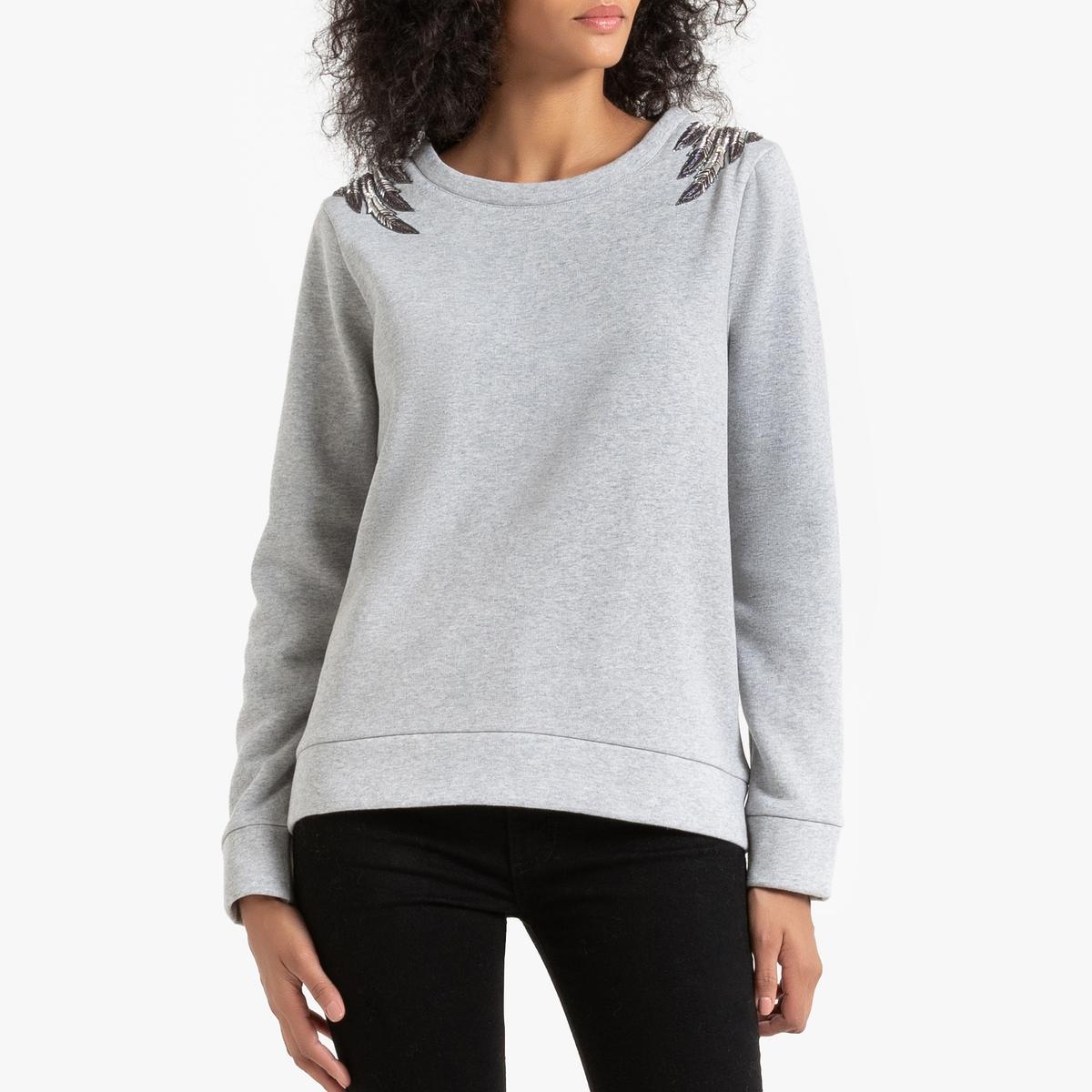 Свитшот La Redoute С круглым вырезом и вышивкой бусинами Suchess L серый свитшот la redoute с круглым вырезом и вышивкой s черный