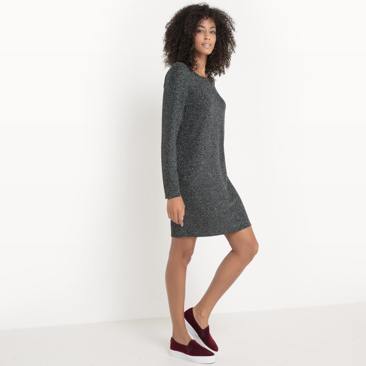 Платье с длинными рукавами VITINNY LUOSQUARE DRESSПлатье с длинными рукавами VITINNY LUOSQUARE DRESS от VILA . Платье прямого покроя. Круглый вырез. Меланжевый трикотаж. Состав и описание :Материал : 75% полиамид, 20% металлизированные волокнаМарка : VILA.<br><br>Цвет: черный<br>Размер: L