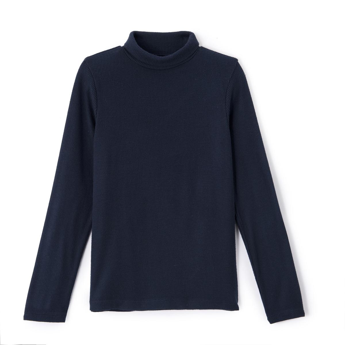 Пуловер с круглым воротником с отворотом, из тонкого трикотажа