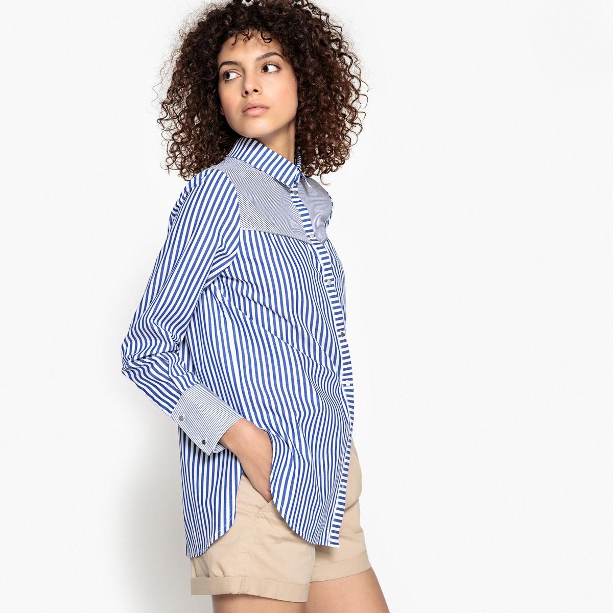 Рубашка в полоску LAURAДетали •  Длинные рукава •  Прямой покрой •  Воротник-поло, рубашечный •  Рисунок в полоскуСостав и уход •  100 % хлопок •  Следуйте советам по уходу, указанным на этикетке<br><br>Цвет: в полоску синий/белый<br>Размер: 2(M)